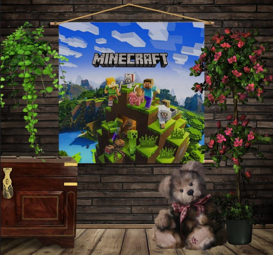 Мобільна картина-постер на тканині з 3D з принтом  Майнкрафт на горі