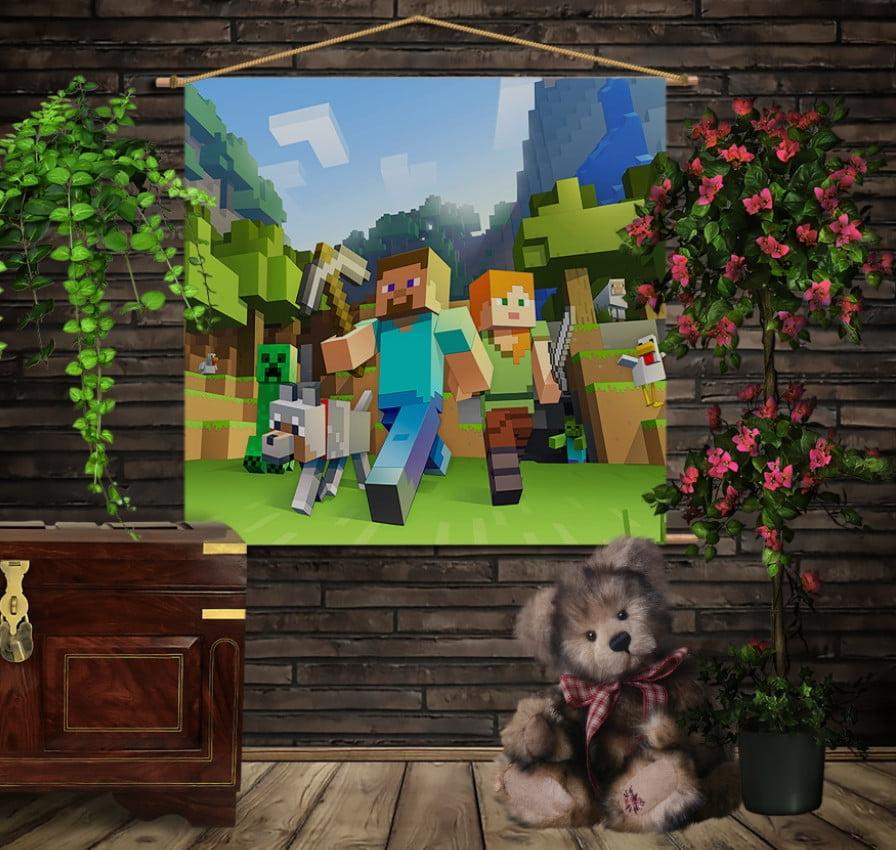 Мобільна картина-постер на тканині з 3D з принтом   Minecraft classic
