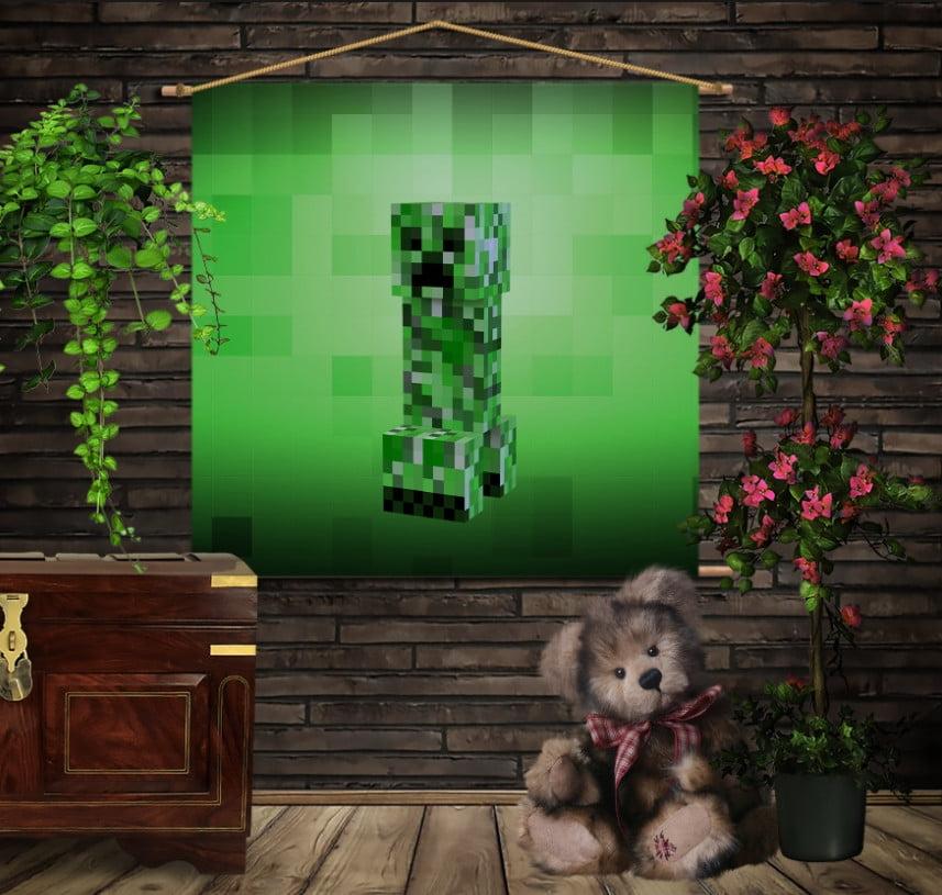 Мобільна картина-постер на тканині з 3D з принтом   Minecraft creeper big