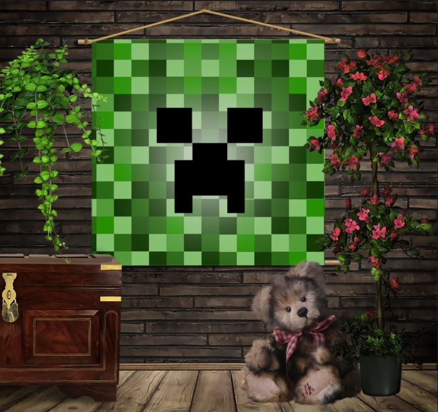Мобільна картина-постер на тканині з 3D з принтом   Minecraft creeper face