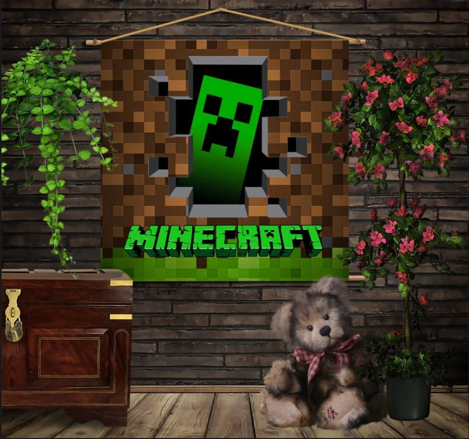 Мобільна картина-постер на тканині з 3D з принтом  Minecraft Logo