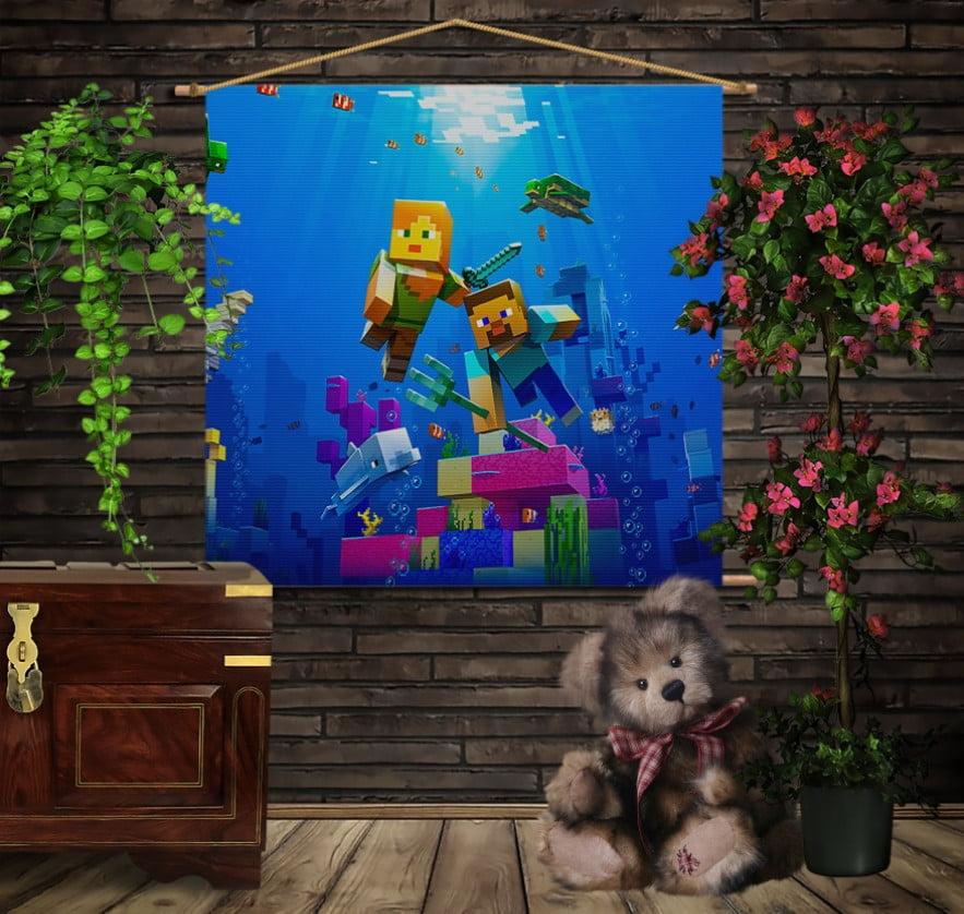 Мобільна картина-постер на тканині з 3D з принтом  Майнкрафт підводний світ