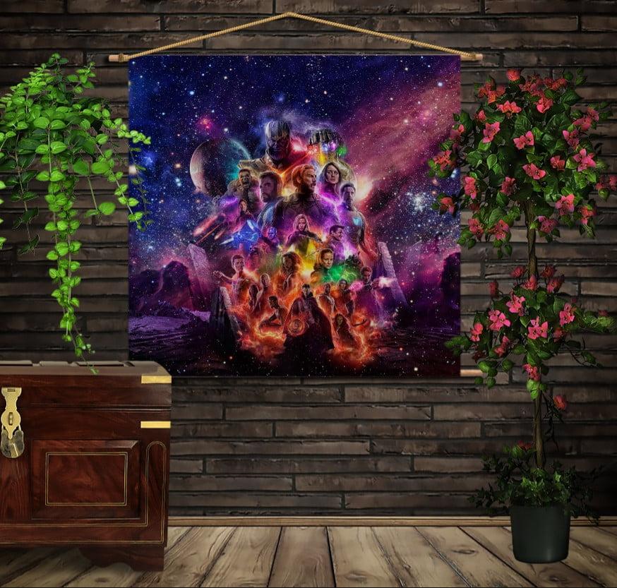 Мобільна картина-постер на тканині з 3D з принтом Marvel endgame Всі герої