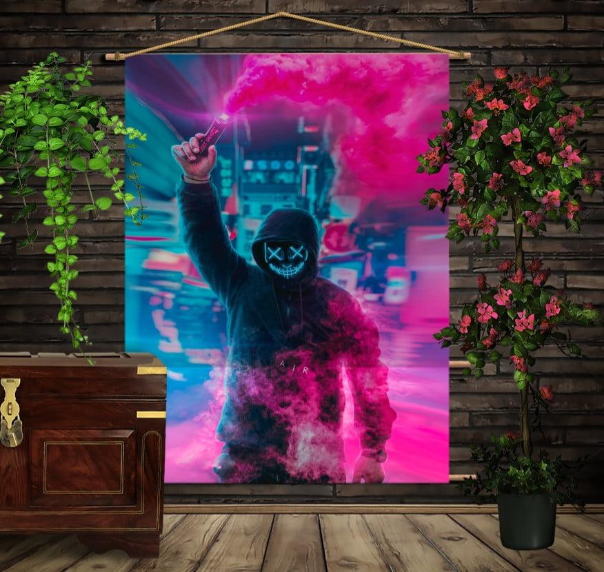 Мобільна картина-постер на тканині з 3D з принтом Маршмеллоу факел