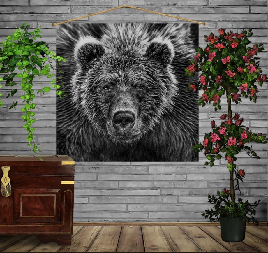 Мобільна картина-постер на тканині з 3D з принтом Ведмідь Графіка