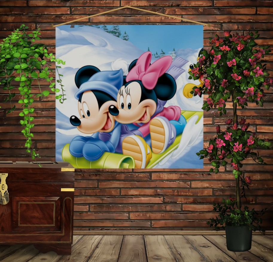 Мобільна картина-постер на тканині з 3D з принтом Мінні і Міккі