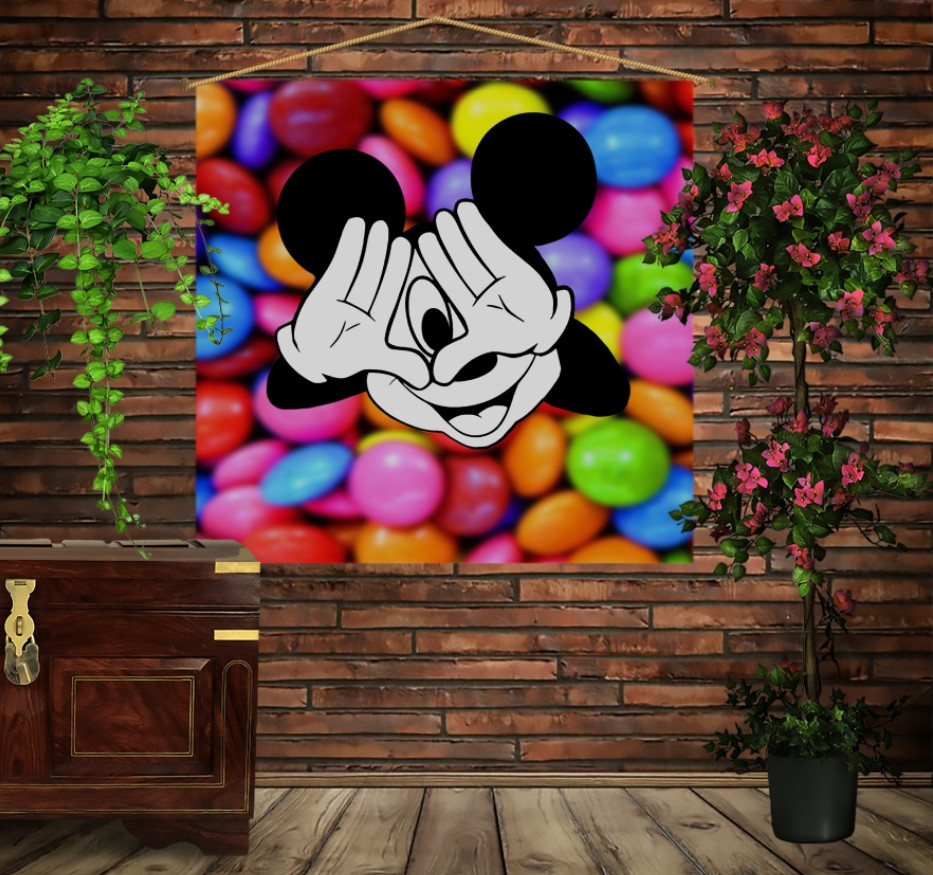Мобільна картина-постер на тканині з 3D з принтом Міккі Маус і цукерки