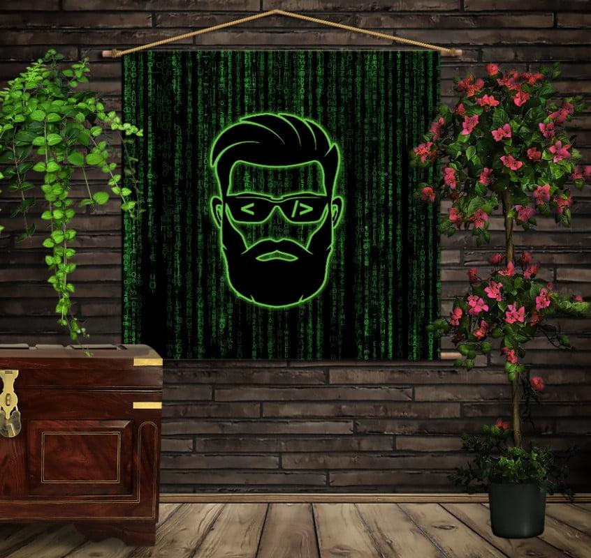 Мобільна картина-постер на тканині з 3D з принтом Програмісту: Просто пиши код