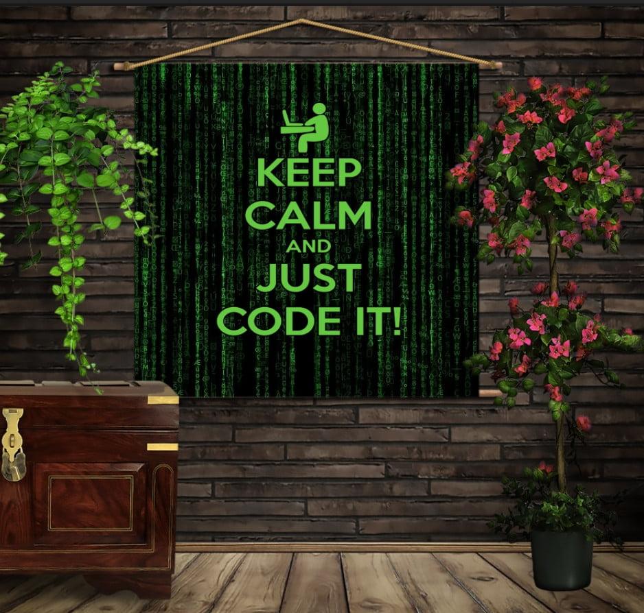 Мобільна картина-постер на тканині з 3D з принтом Keep Calm and Just Code It