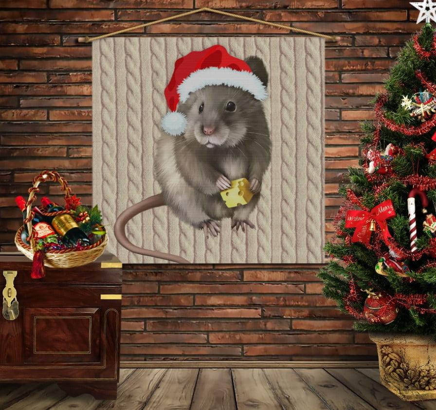 Мобільна картина-постер на тканині з 3D з принтом Мишка Новий Рік