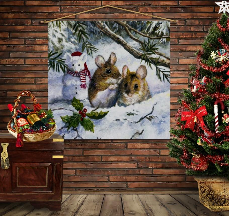 Мобільна картина-постер на тканині з 3D з принтом Різдвяні мишки в лісі