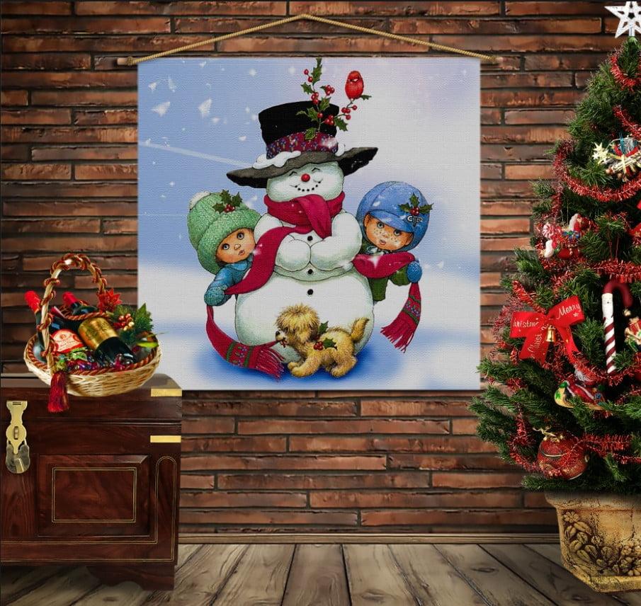 Мобільна картина-постер на тканині з 3D з принтом Різдво. Сніговичок