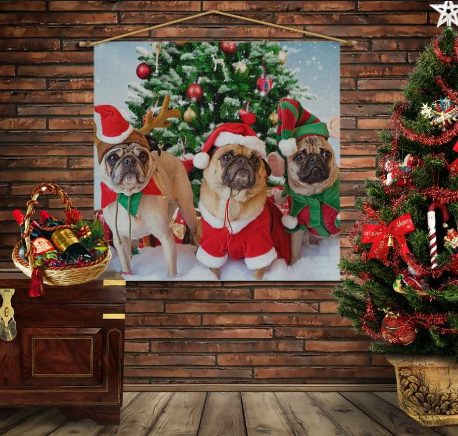 Мобільна картина-постер на тканині з 3D з принтом Різдвяні мопсики