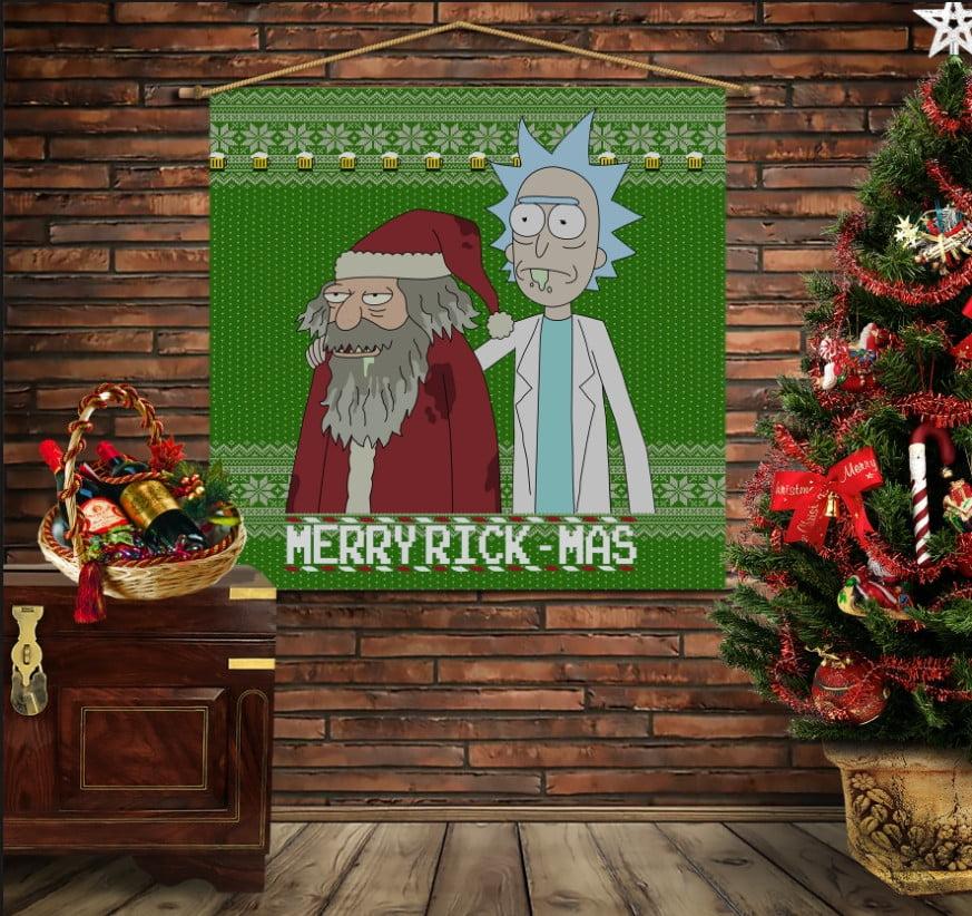 Мобільна картина-постер на тканині з 3D з принтом  Різдвяні Рік і Морті з пивом
