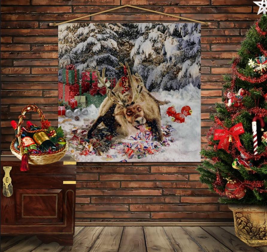 Мобільна картина-постер на тканині з 3D з принтом  Різдвяний олень Рудольф і цукерки