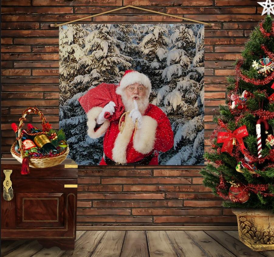 Мобільна картина-постер на тканині з 3D з принтом  Санта в лісі