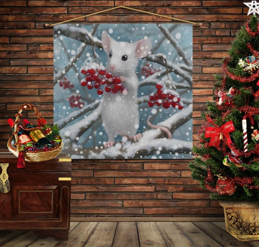 Мобільна картина-постер на тканині з 3D з принтом Зимова мишка і калина
