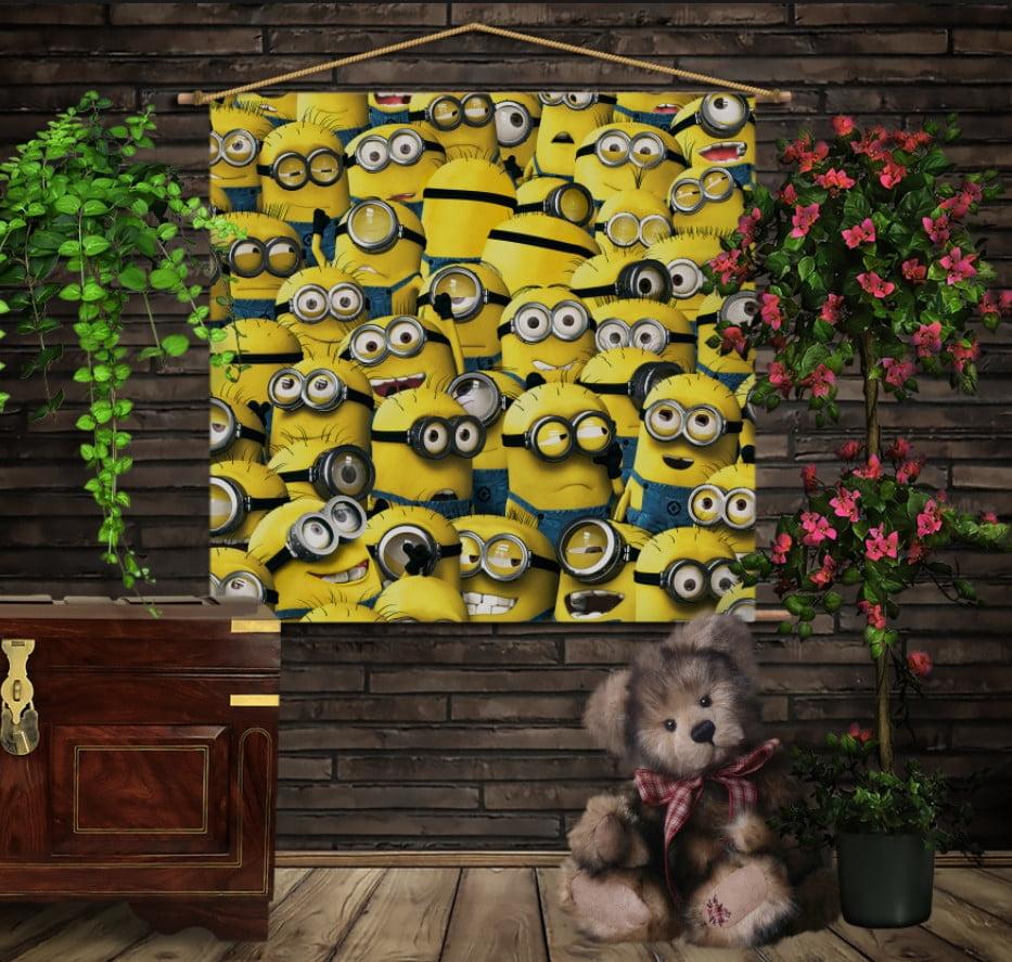 Мобільна картина-постер на тканині з 3D з принтом All Minions