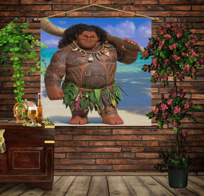 Мобільна картина-постер на тканині з 3D з принтом Мауі (Моана)