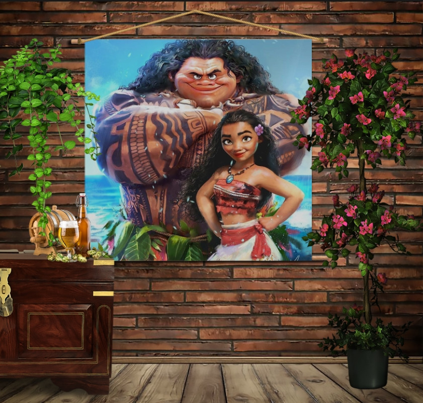 Мобільна картина-постер на тканині з 3D з принтом Moana and Maui. The Best