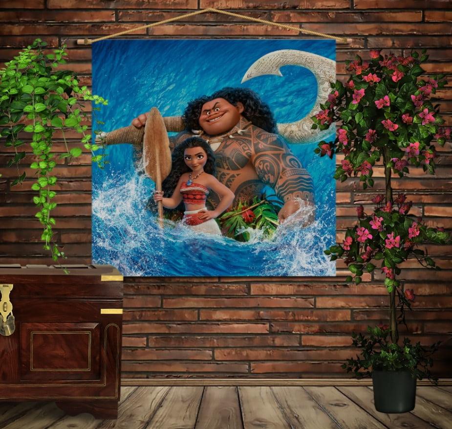 Мобільна картина-постер на тканині з 3D з принтом Moana and Maui in water