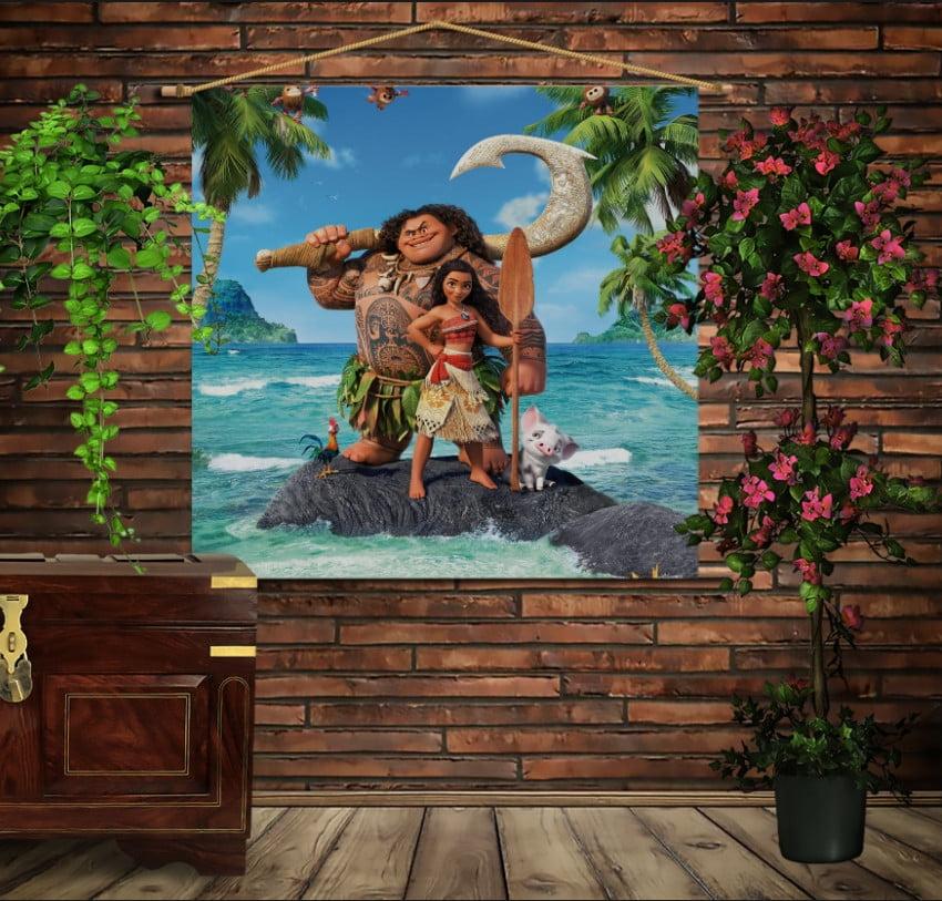 Мобільна картина-постер на тканині з 3D з принтом Moana and Maui on island