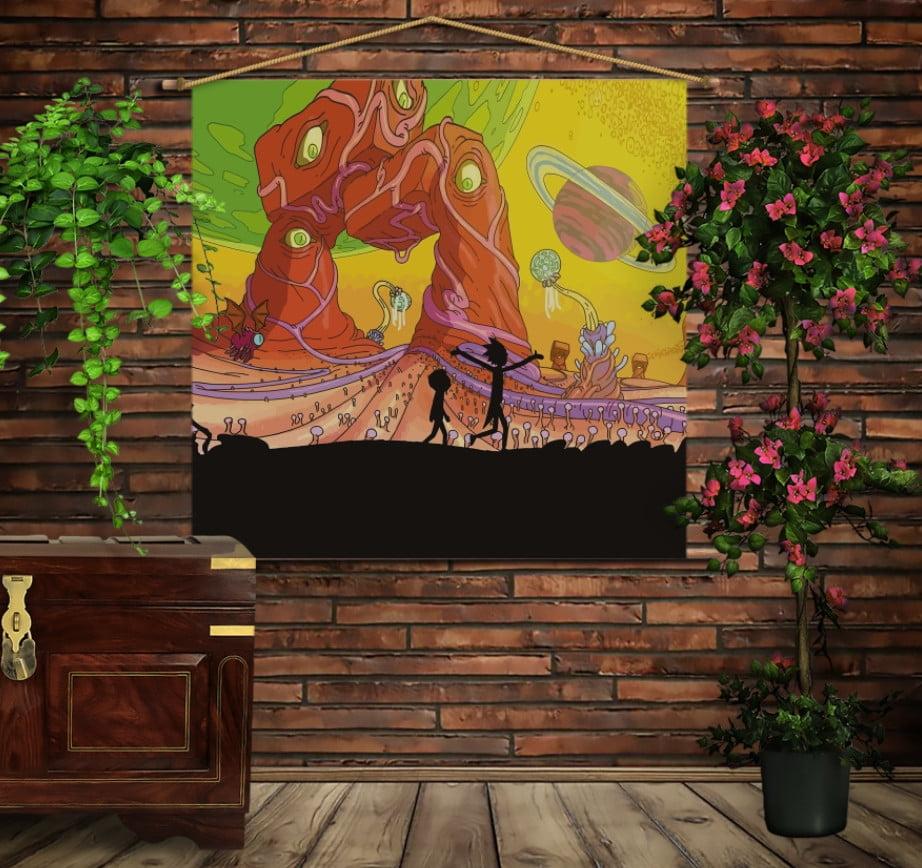 Мобільна картина-постер на тканині з 3D з принтом Рік і Морті Жовтий космос