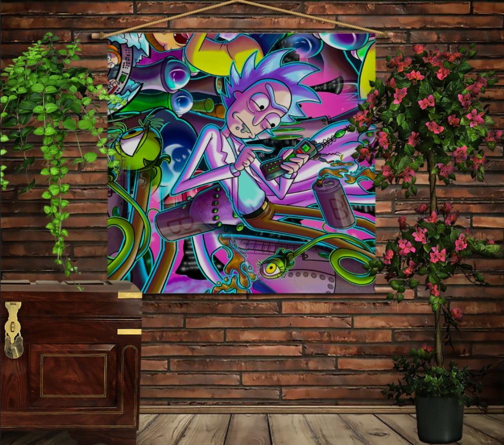 Мобільна картина-постер на тканині з 3D з принтом Рік і Морті Комікс