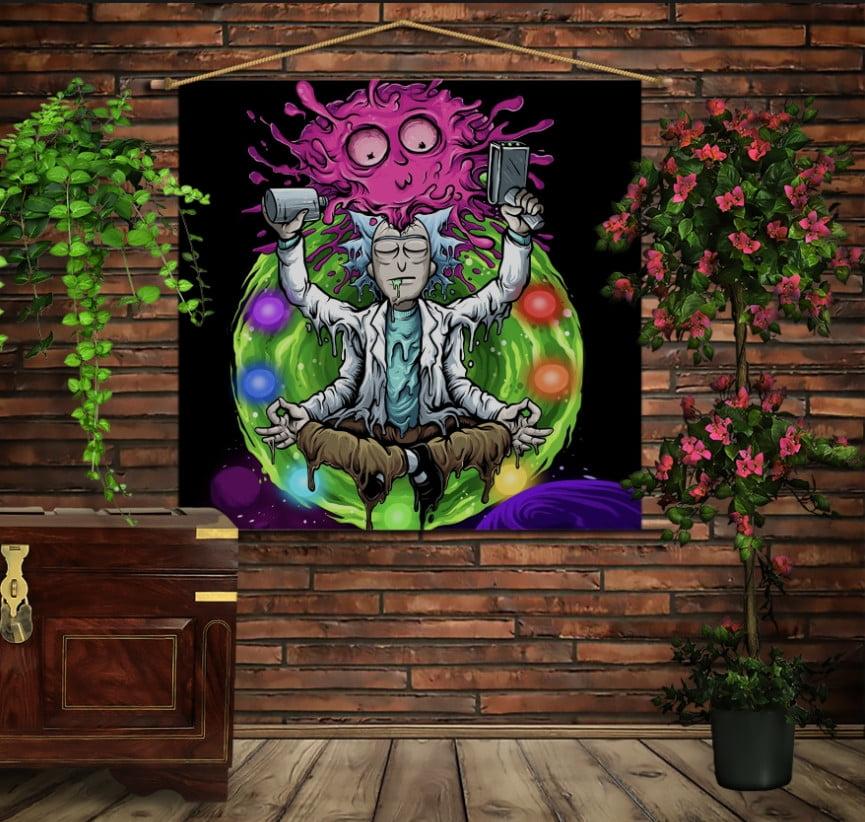 Мобільна картина-постер на тканині з 3D з принтом Рік і Морті Дзен