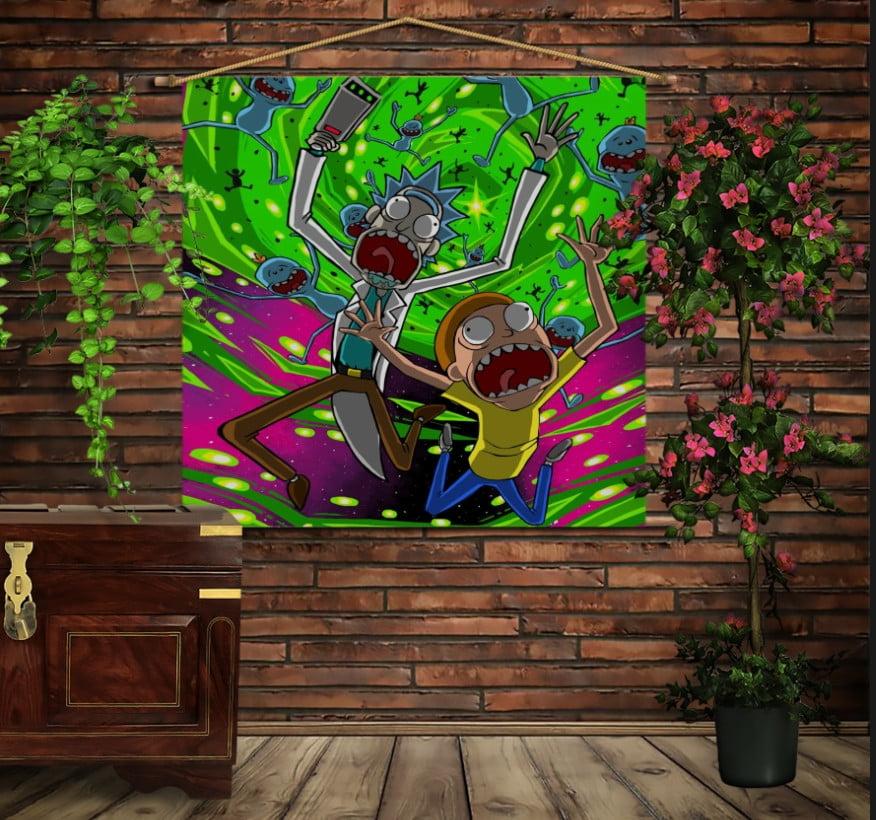 Мобільна картина-постер на тканині з 3D з принтом Рік і Морті Кислота
