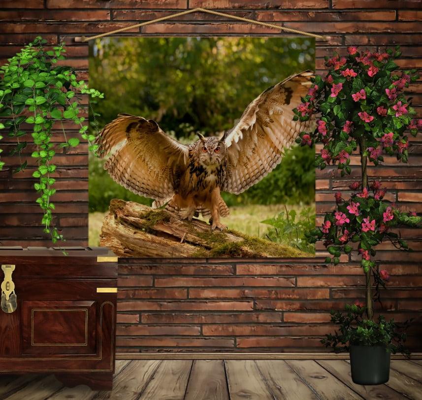 Мобільна картина-постер на тканині з 3D з принтом Гордий філін. Унікальний принт