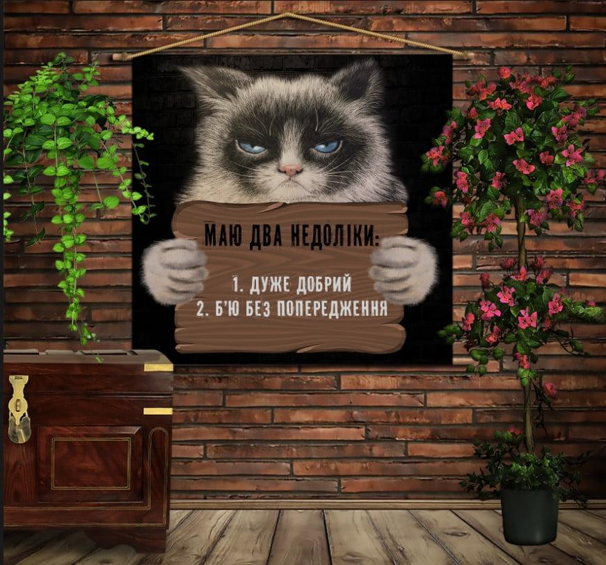 Мобільна картина-постер на тканині з 3D з принтом Маю два недоліки...