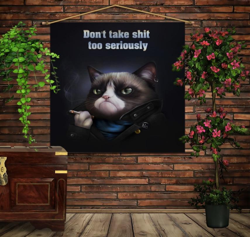Мобільна картина-постер на тканині з 3D з принтом Не сприймай все серйозно