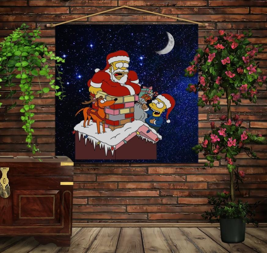 Мобільна картина-постер на тканині з 3D з принтом  Гомер Санта на даху