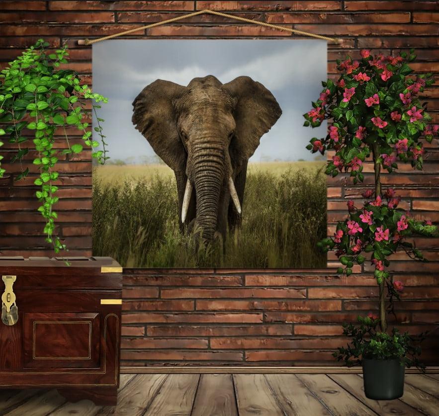Мобільна картина-постер на тканині з 3D з принтом Слон