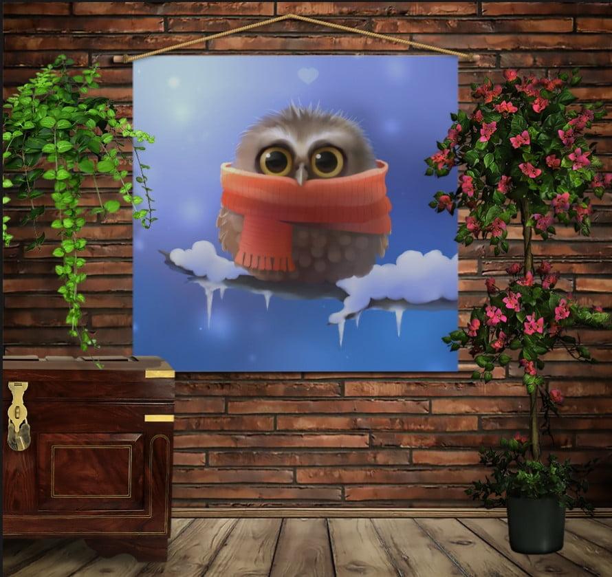 Мобільна картина-постер на тканині з 3D з принтом Сова в шарфі