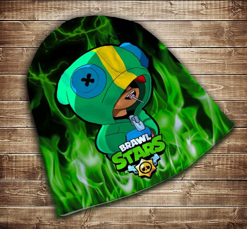 Шапка з 3D принтом Бравл Старс Леон Зелений вогонь Brawl Stars Всі розміри