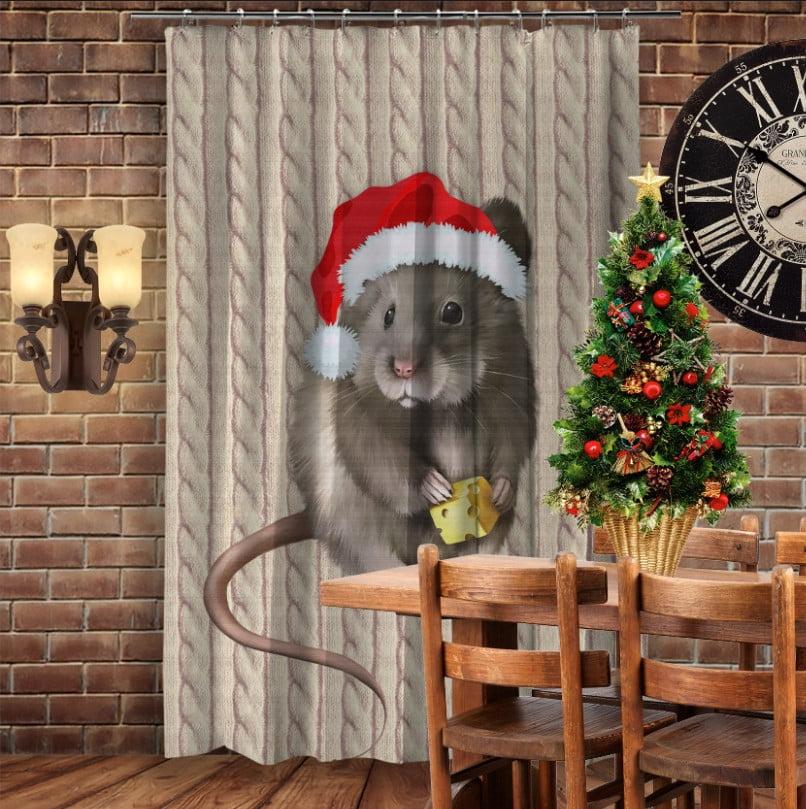 Штори 3D з принтом- Мишка Новий Рік