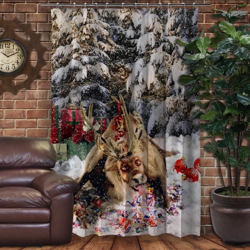 Штори 3D з принтом- Різдвяний олень Рудольф і цукерки