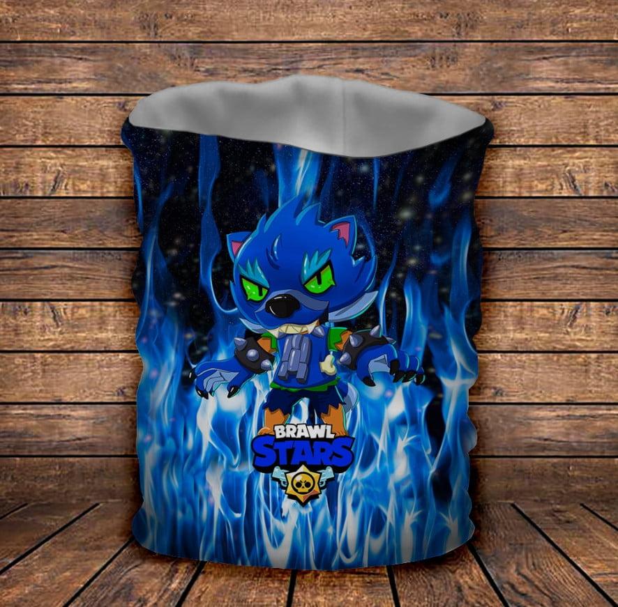 Бафф з 3D принтом Brawl Stars Leon Werewolf in blue fire