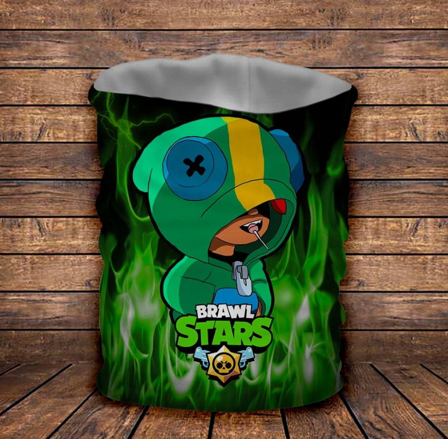 Бафф з 3D принтом Brawl Stars Leon Werewolf in green fire