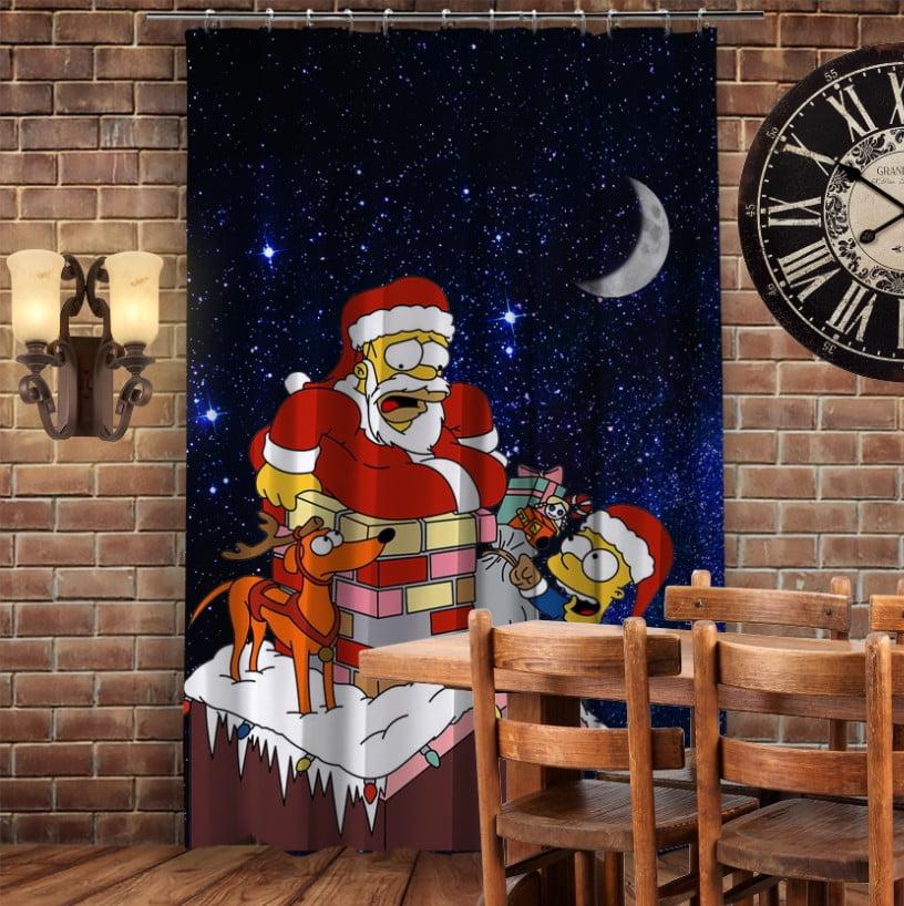 Штори 3D з принтом- Гомер Санта на даху