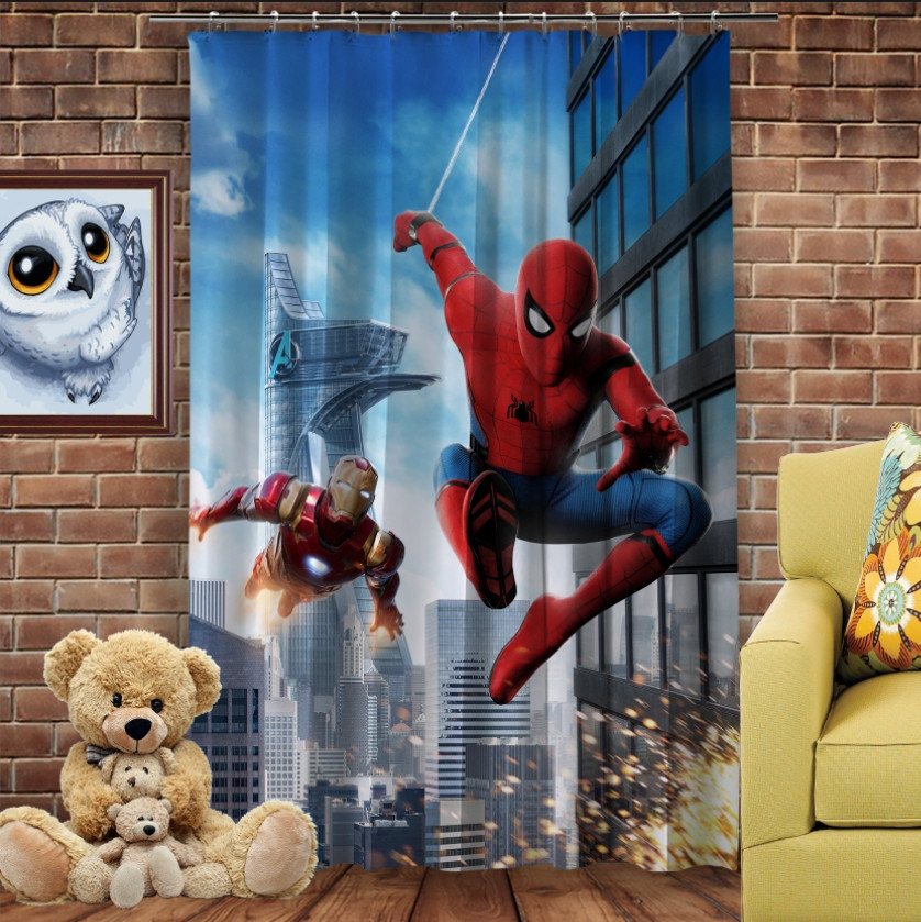 Штори 3D з принтом- Спайдермен і Залізна Людина