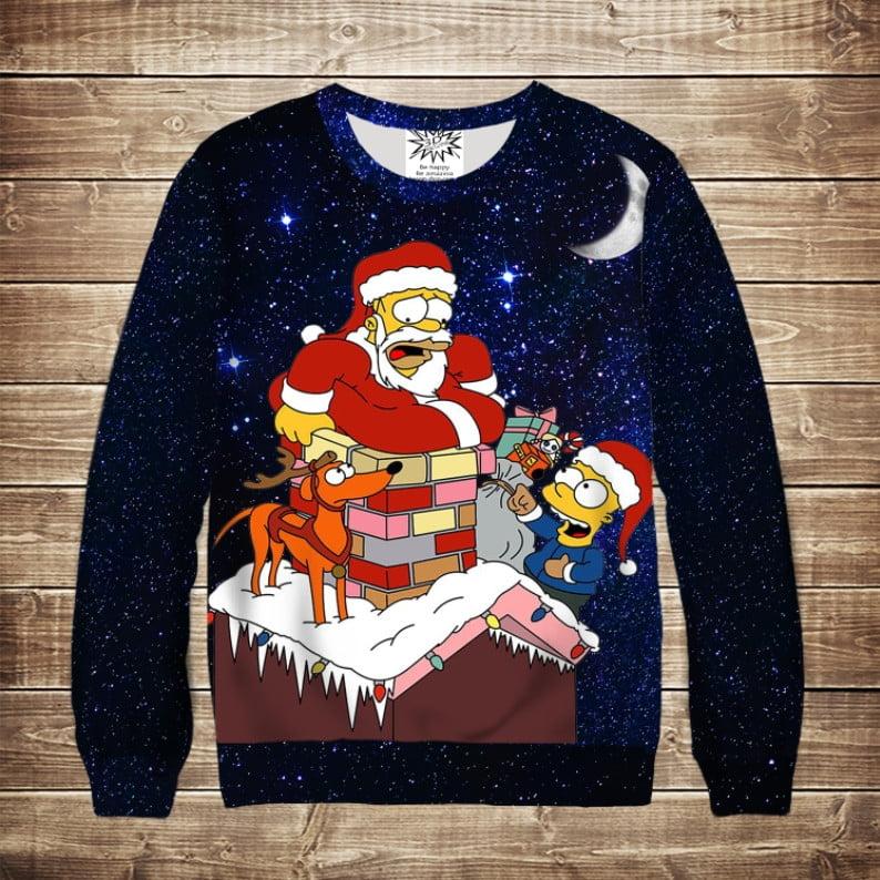 Світшот новорічний з 3d принтом Гомер Санта (дорослі і дитячі розміри)
