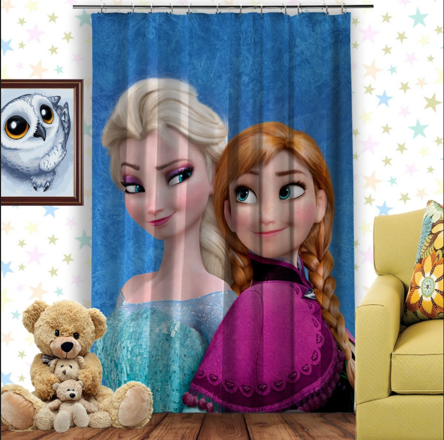 Штори 3D з принтом- Frozen Анна і Ельза