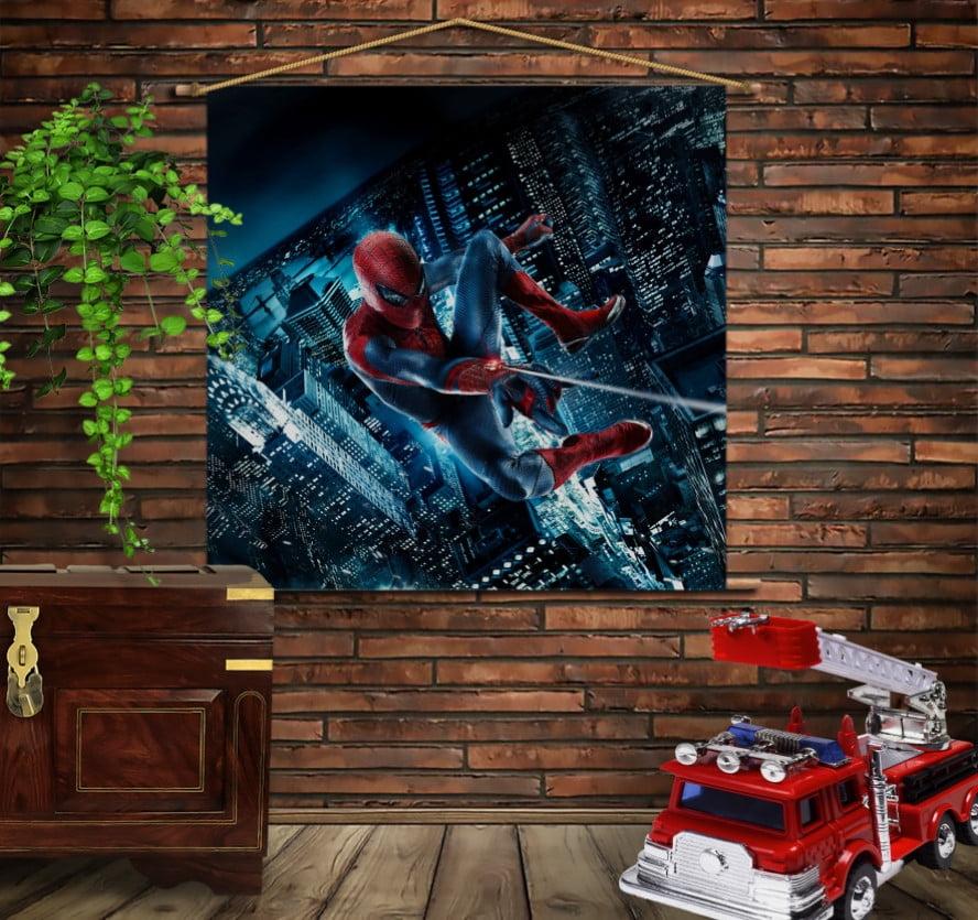Мобільна картина-постер на тканині з 3D з принтом Спайдермен.  Нічне місто