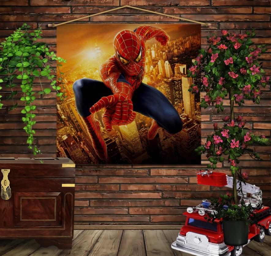 Мобільна картина-постер на тканині з 3D з принтом Спайдермен Gold
