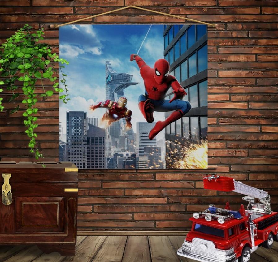 Мобільна картина-постер на тканині з 3D з принтом Спайдермен і Залізна Людина