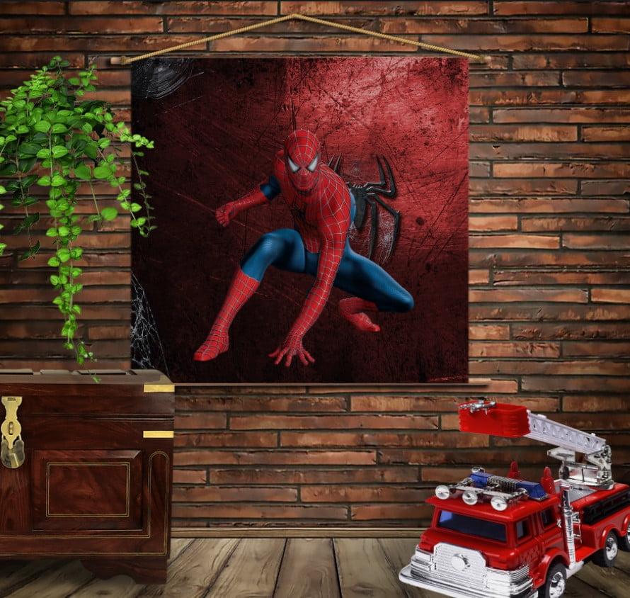 Мобільна картина-постер на тканині з 3D з принтом Спайдермен Red