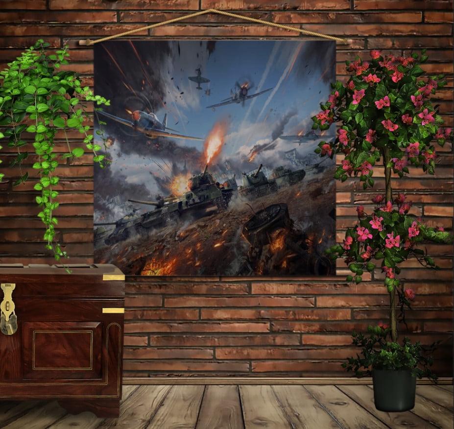 Мобільна картина-постер на тканині з 3D з принтом Танки in battle War Thunde